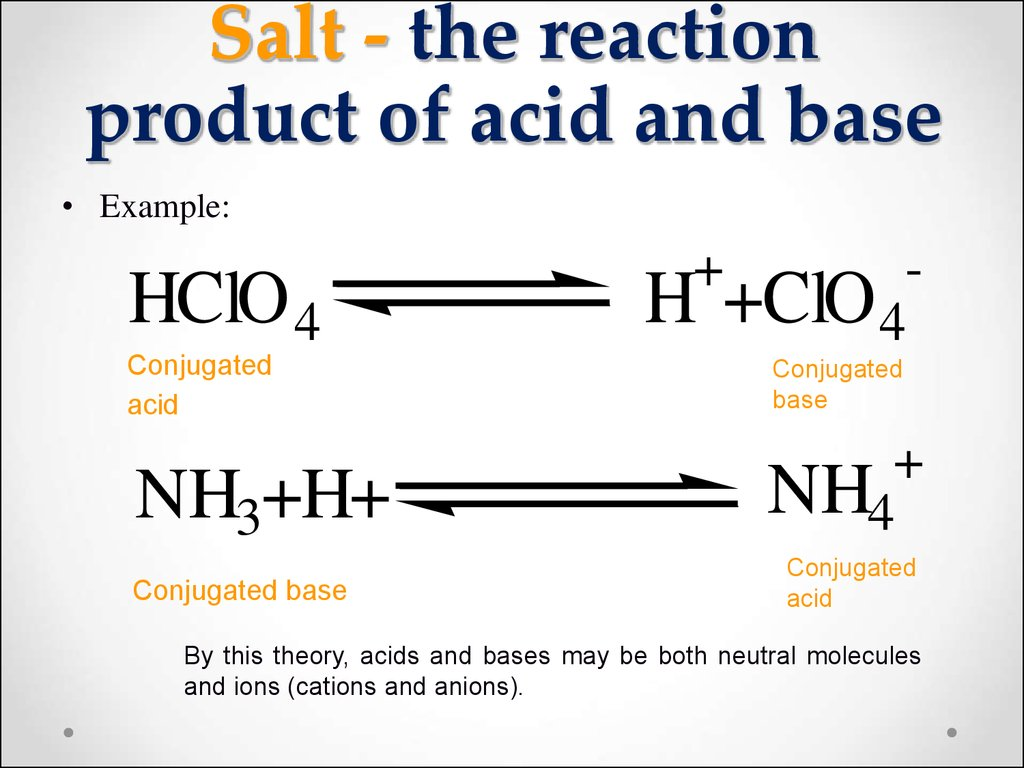 Salt - the reaction product of acid and base