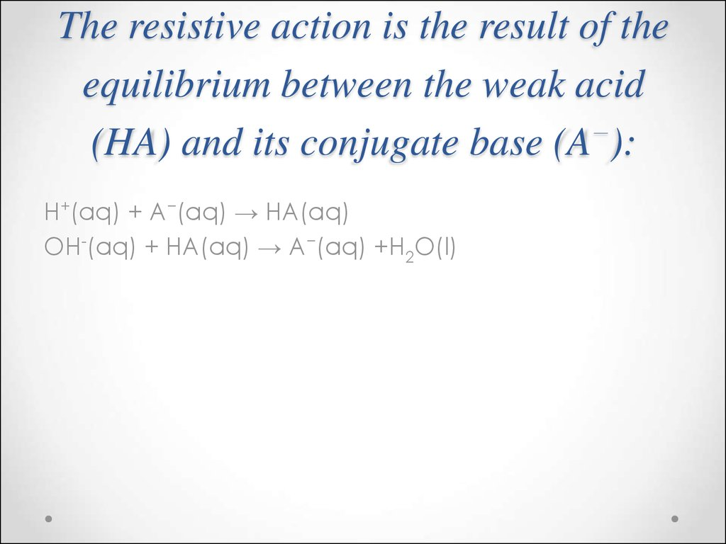 The resistive action is the result of the equilibrium between the weak acid (HA) and its conjugate base (A−):