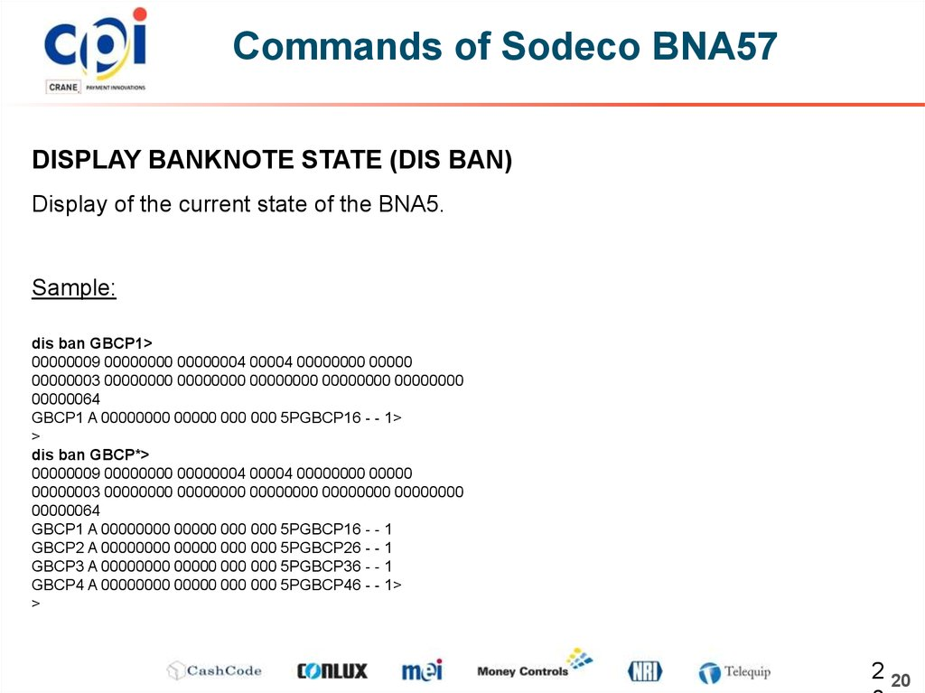 Commands of Sodeco BNA57