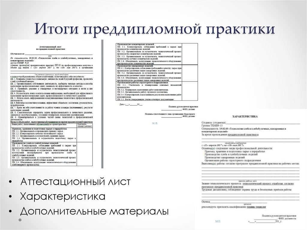 Отчет по преддипломной практике Технологии хлеба и хлебобулочных   Итоги преддипломной практики