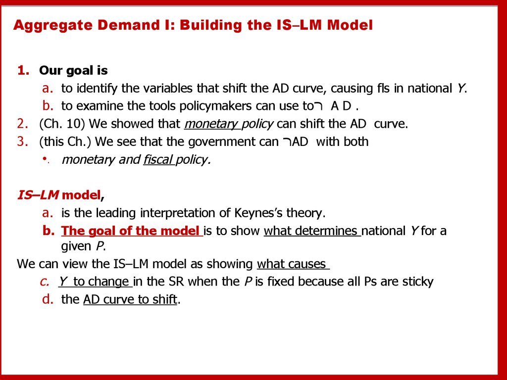 Aggregate Demand I: Building the IS–LM Model