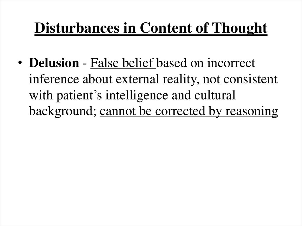 Disturbances in Content of Thought