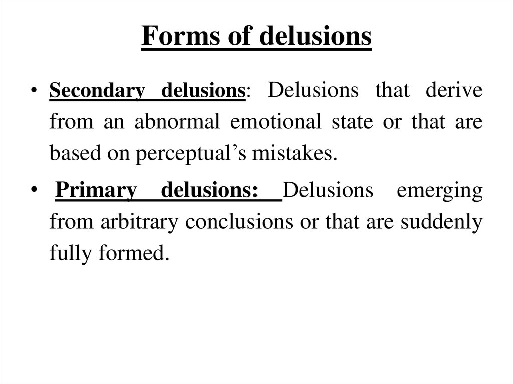 Forms of delusions