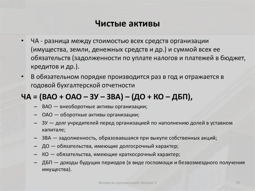 Расчет и оценка чистых активов организации шпаргалка