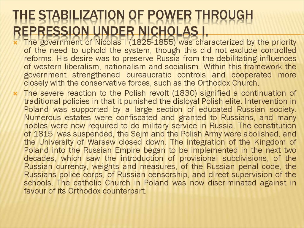 The Stabilization of Power through Repression under Nicholas I.