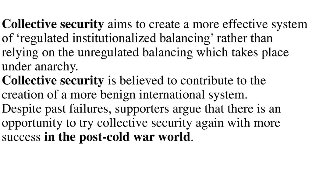 failure of collective security essay Reviewing the failure of the league of nations history essay  whose goal was to prevent war through collective security,.