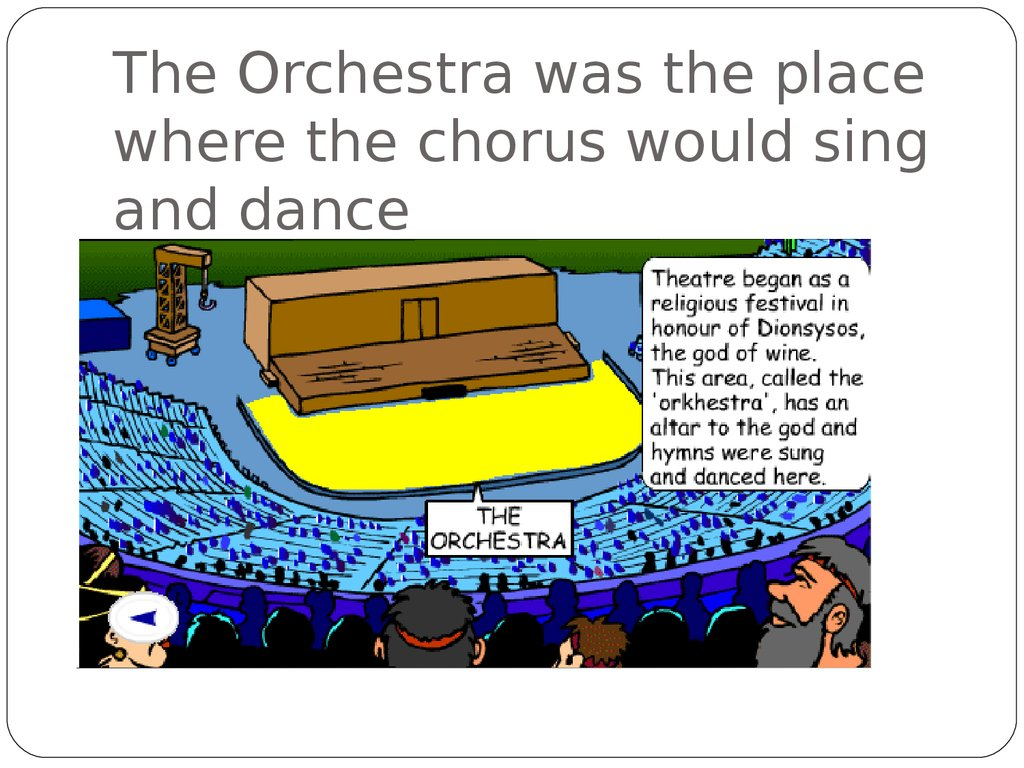 The Orchestra was the place where the chorus would sing and dance