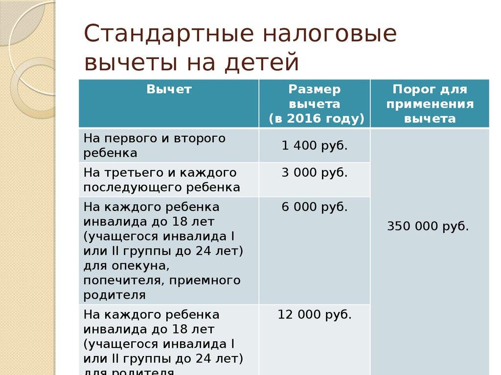 вычет на ребенка в 2017 году доставка России