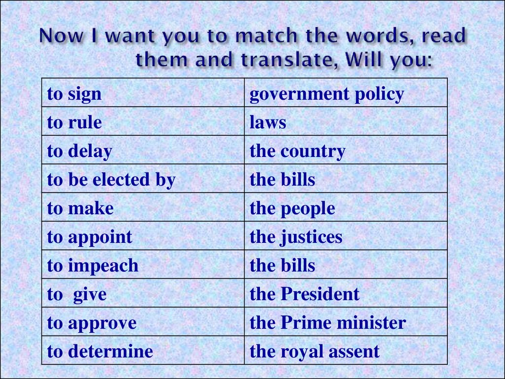 Now I want you to match the words, read them and translate, Will you: