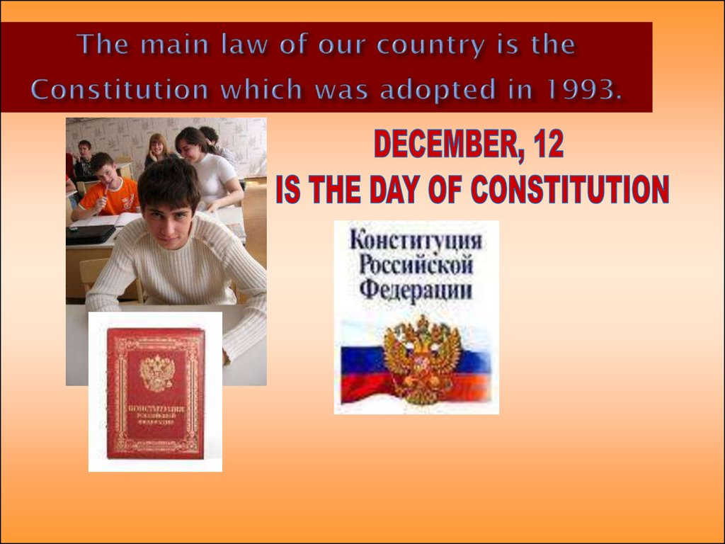The main law of our country is the Constitution which was adopted in 1993.