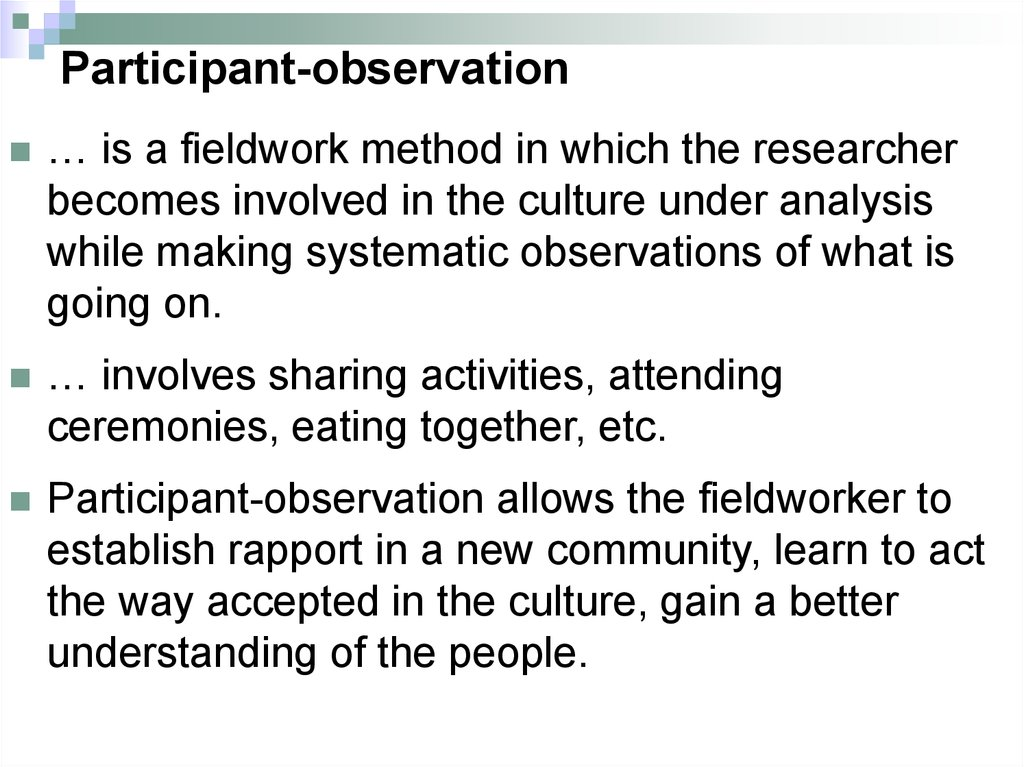 non participant observation report Participant observation is one tool or mechanism to do ethnography which involves the researcher to be a participant in their setting and helps in getting the information.