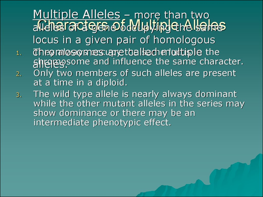 Characters of Multiple Alleles