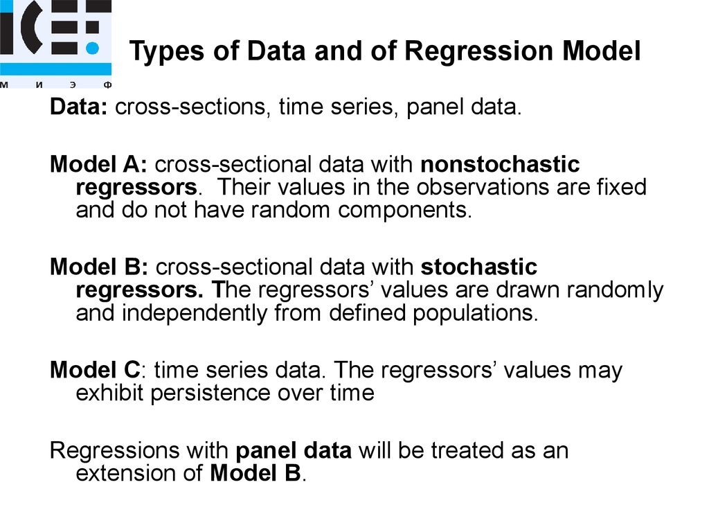 Types of Data and of Regression Model