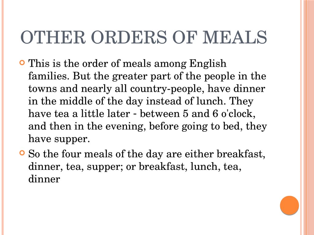 Other orders of meals