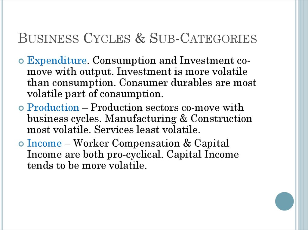 Business Cycles & Sub-Categories
