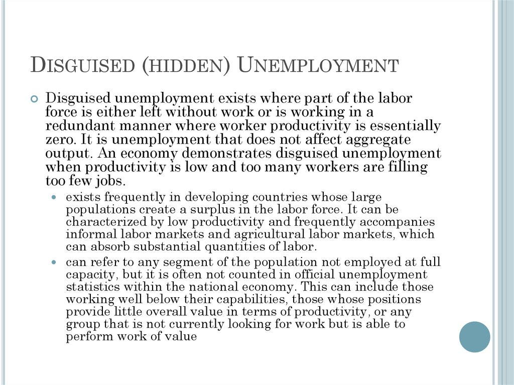 Disguised (hidden) Unemployment