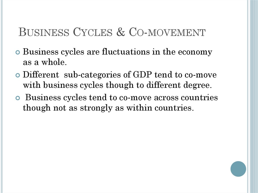Business Cycles & Co-movement