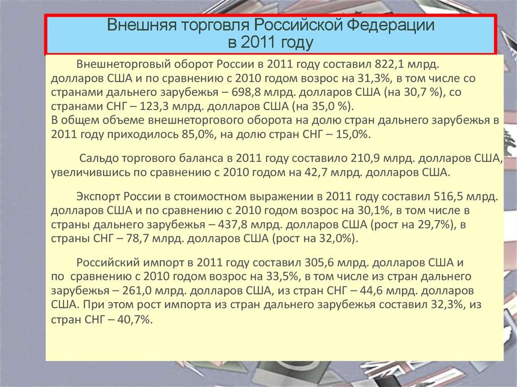 Чрезмерный уровень внешняя торговля россии в 2011 году заранее