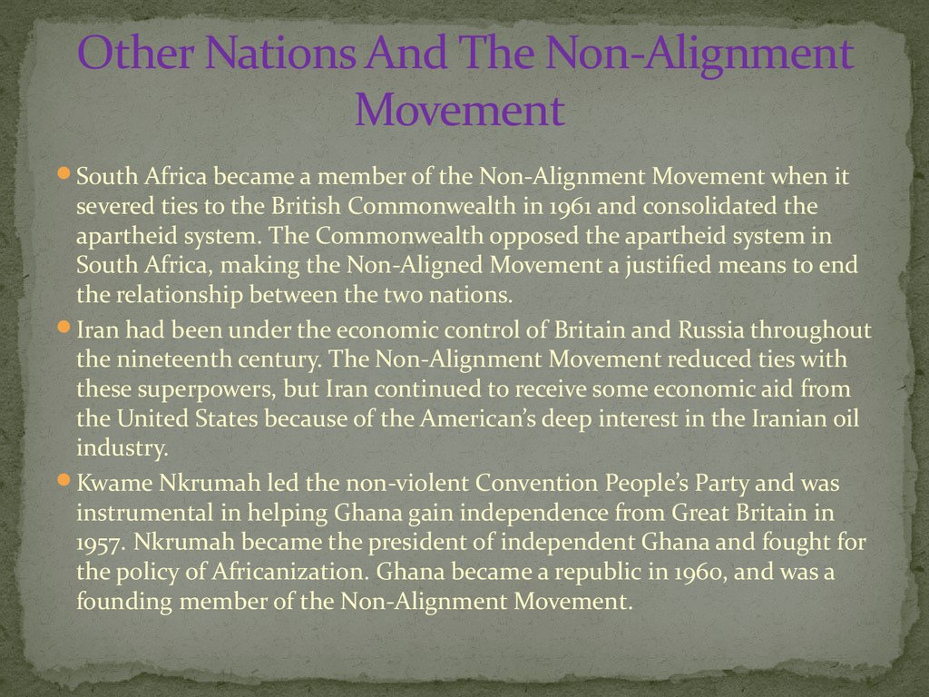 Other Nations And The Non-Alignment Movement