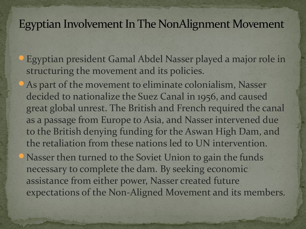 Egyptian Involvement In The NonAlignment Movement