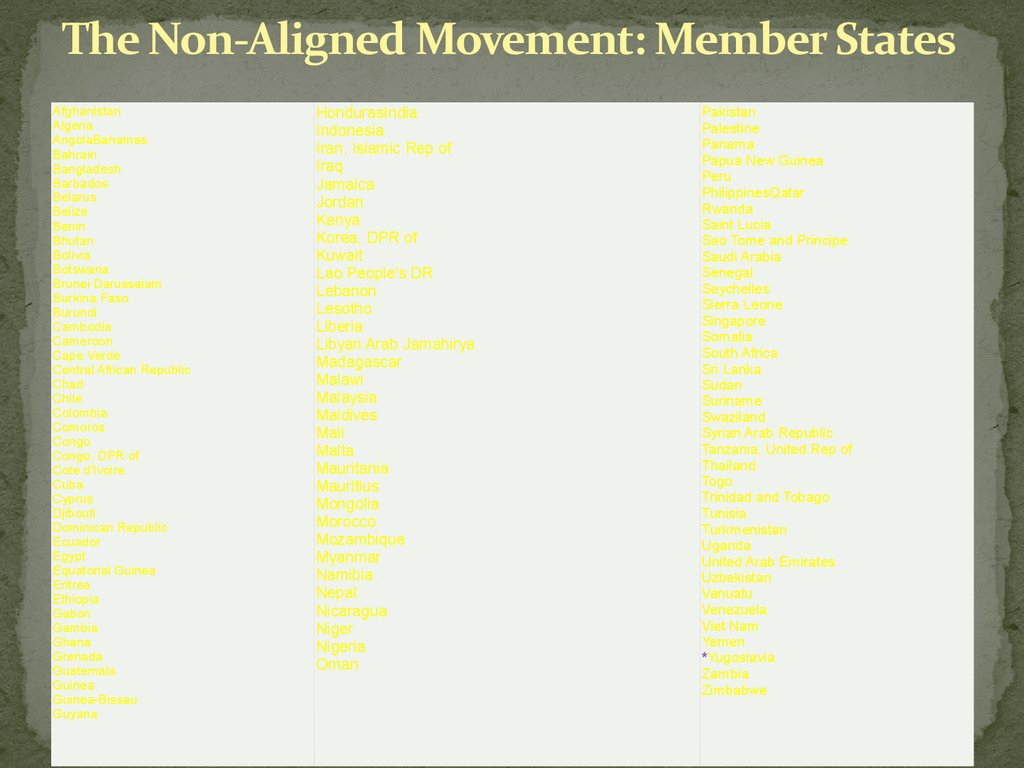 """the non-aligned movement essay Nam (the non-aligned movement) """"nam came into being with the  farsighted vision of jawaharlal nehru marshal tito of yugoslavia and."""