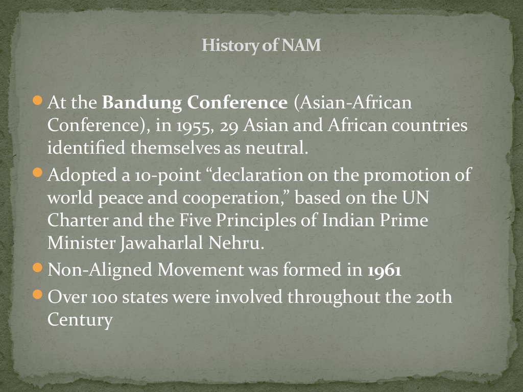 History of NAM