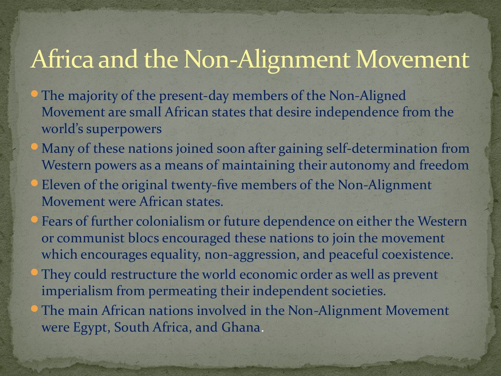 Africa and the Non-Alignment Movement