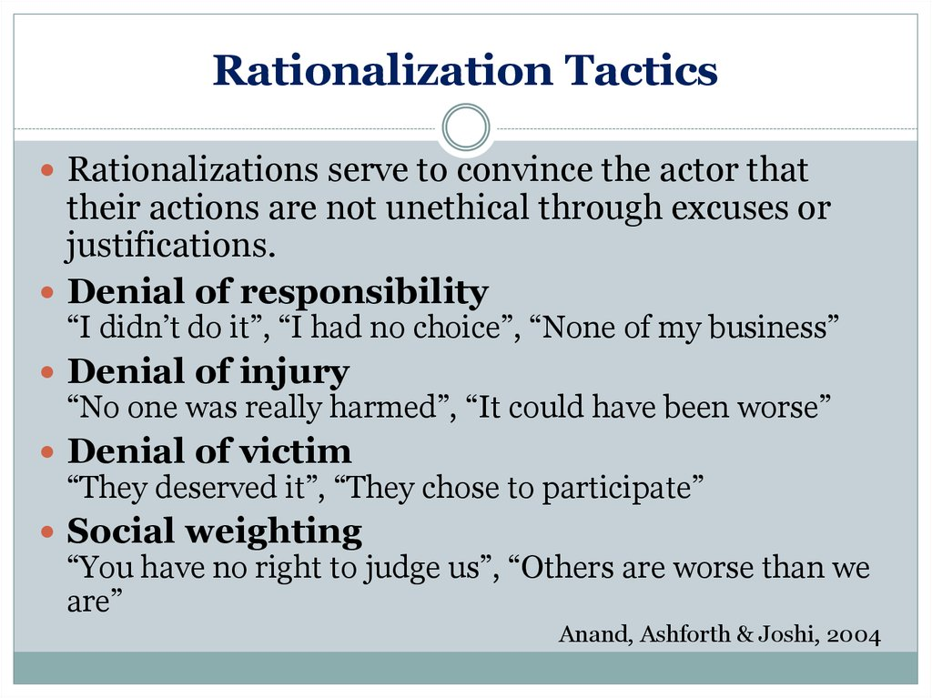 unethical rationalization
