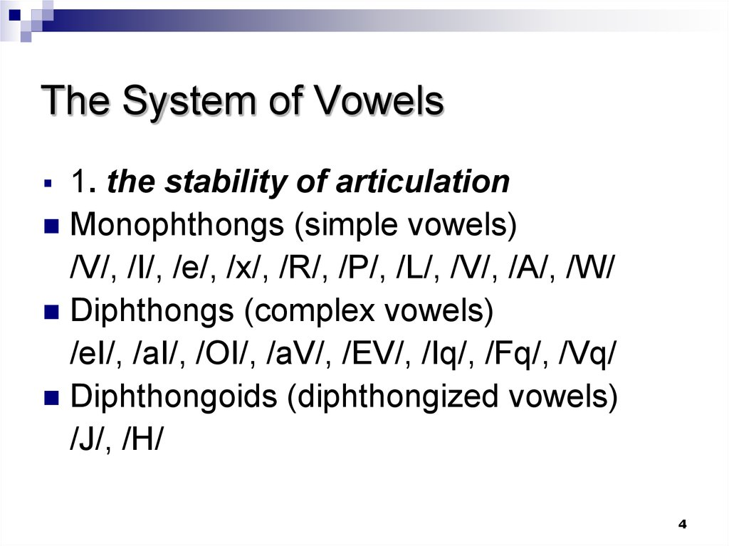 The System of Vowels