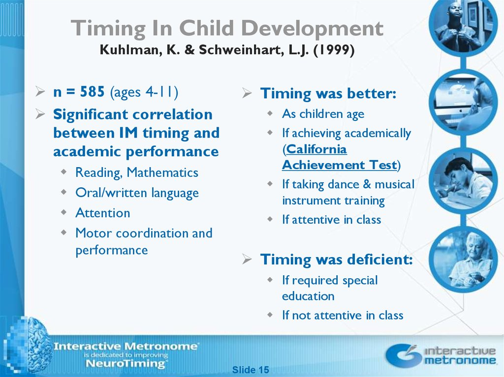 Timing In Child Development Kuhlman, K. & Schweinhart, L.J. (1999)
