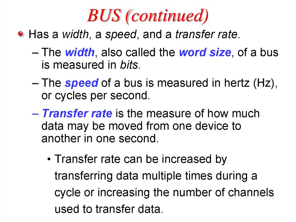 BUS (continued)