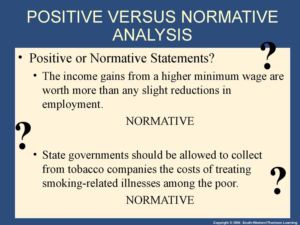 POSITIVE VERSUS NORMATIVE ANALYSIS