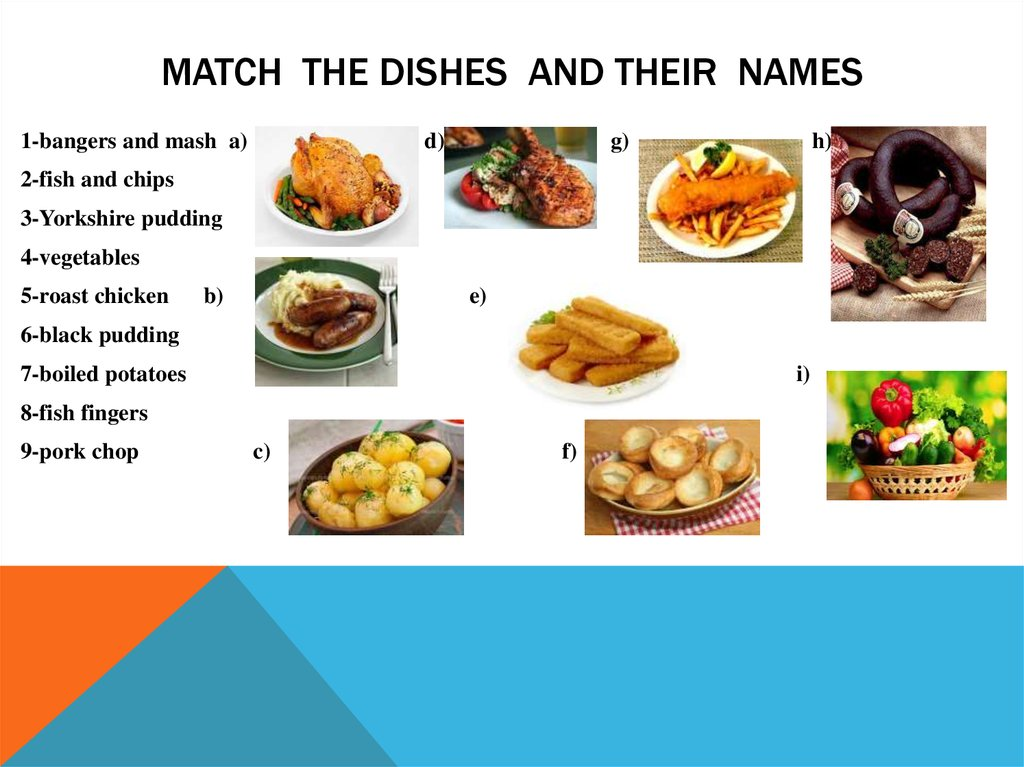 Match the dishes and their names