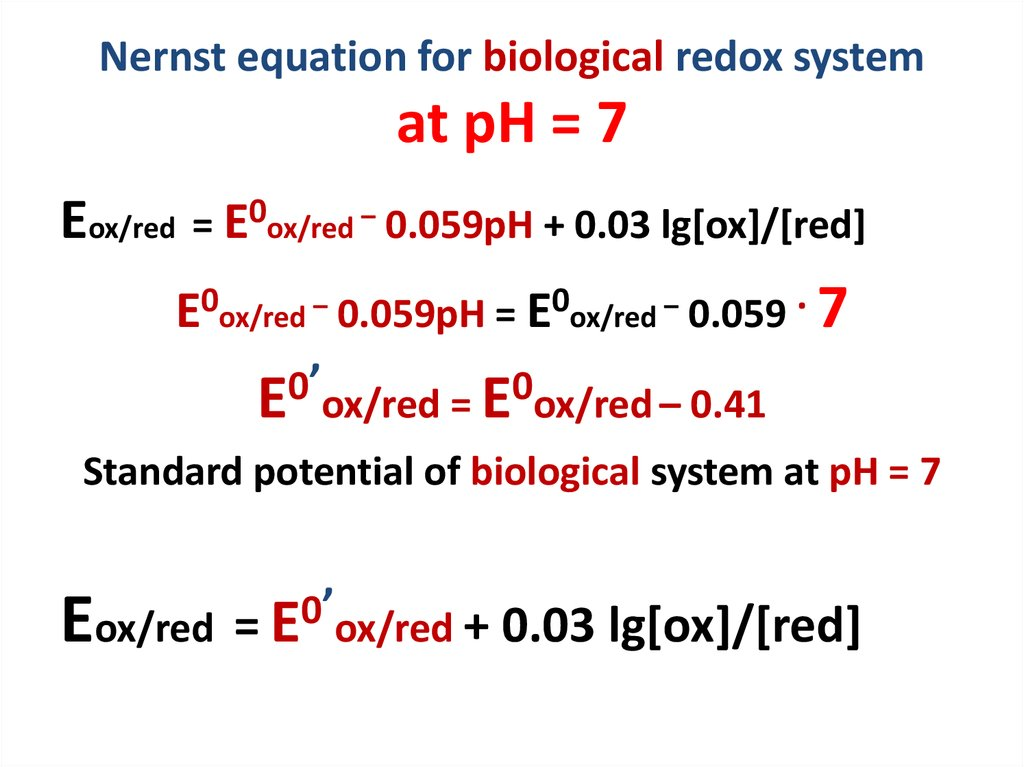 Nernst equation for biological redox system at pH = 7