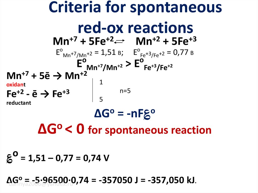 Criteria for spontaneous red-ox reactions
