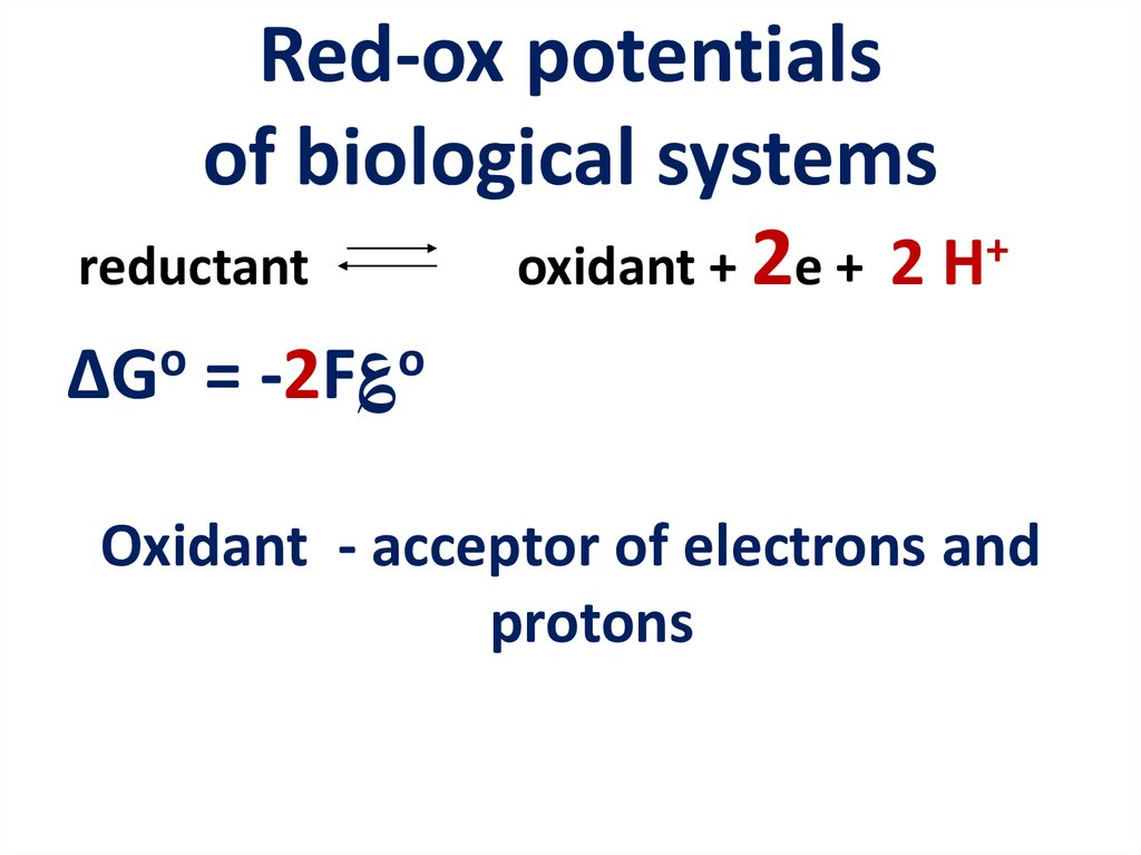 Red-ox potentials of biological systems