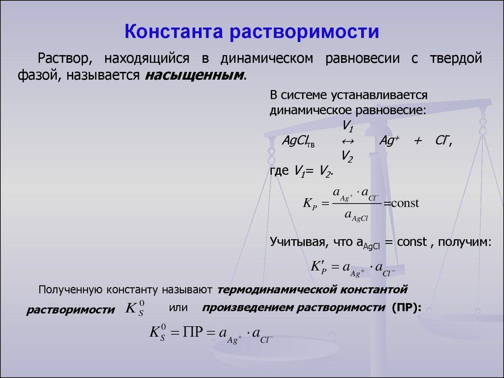 Константа равновесия для гетерогенных реакций г и ж