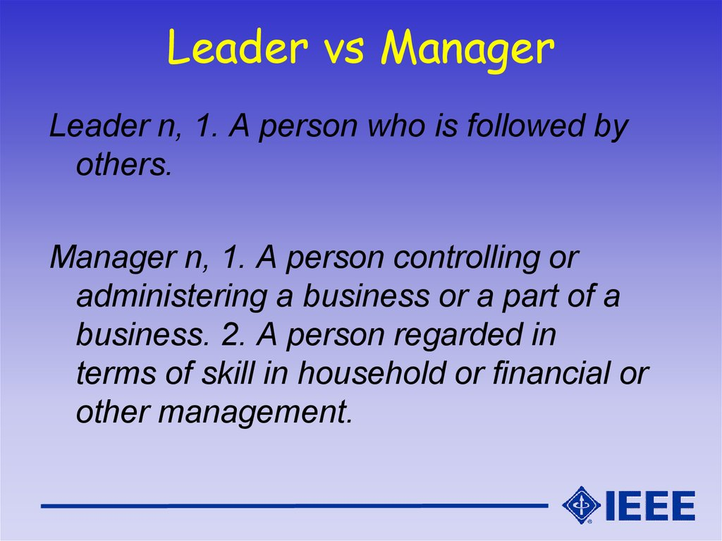 Leader vs Manager