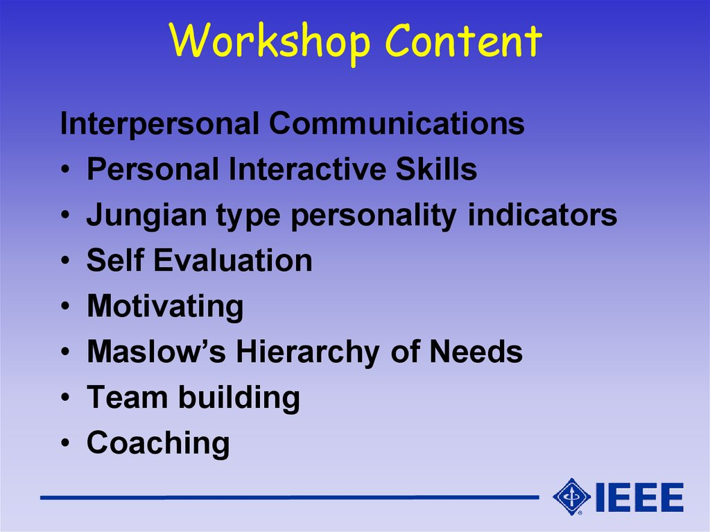 Workshop Content
