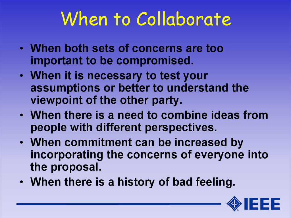 When to Collaborate