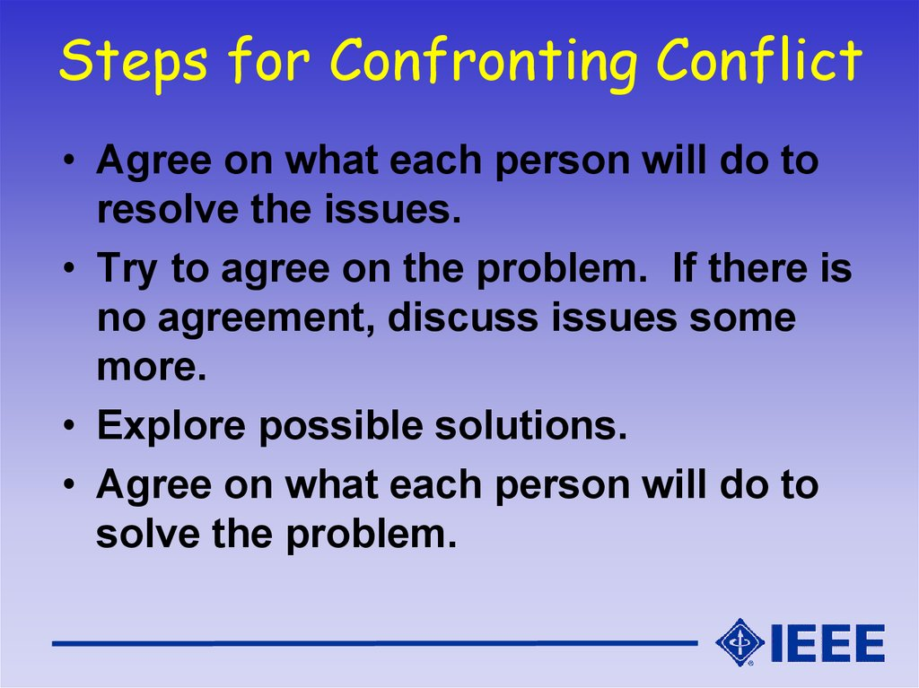 Steps for Confronting Conflict