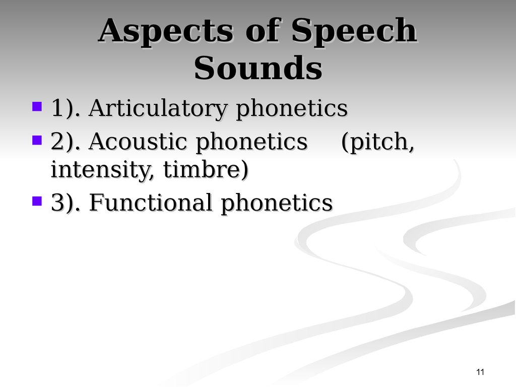 Aspects of Speech Sounds