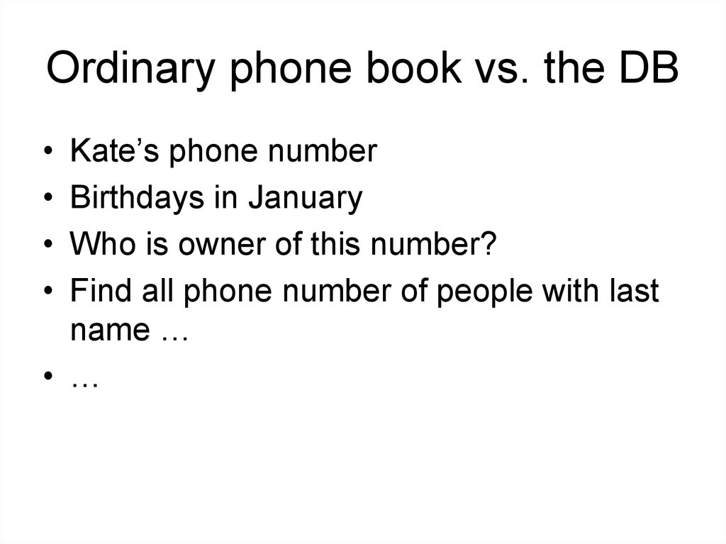 Ordinary phone book vs. the DB