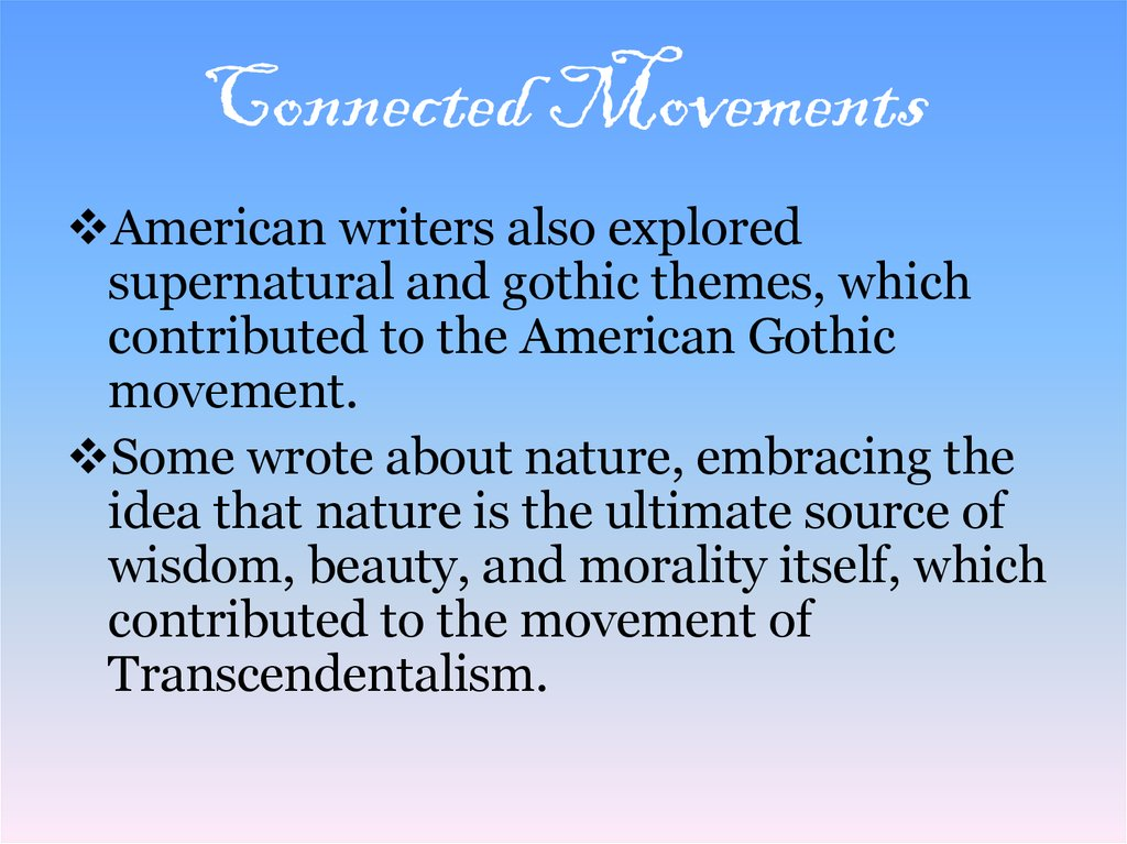 Connected Movements