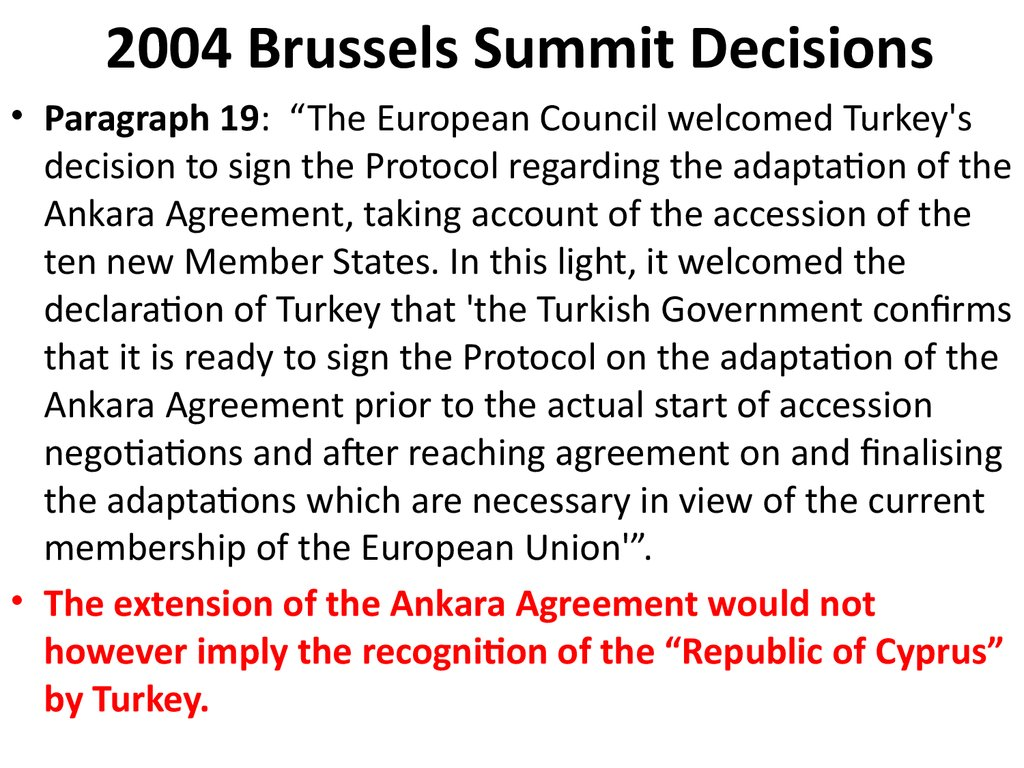2004 Brussels Summit Decisions