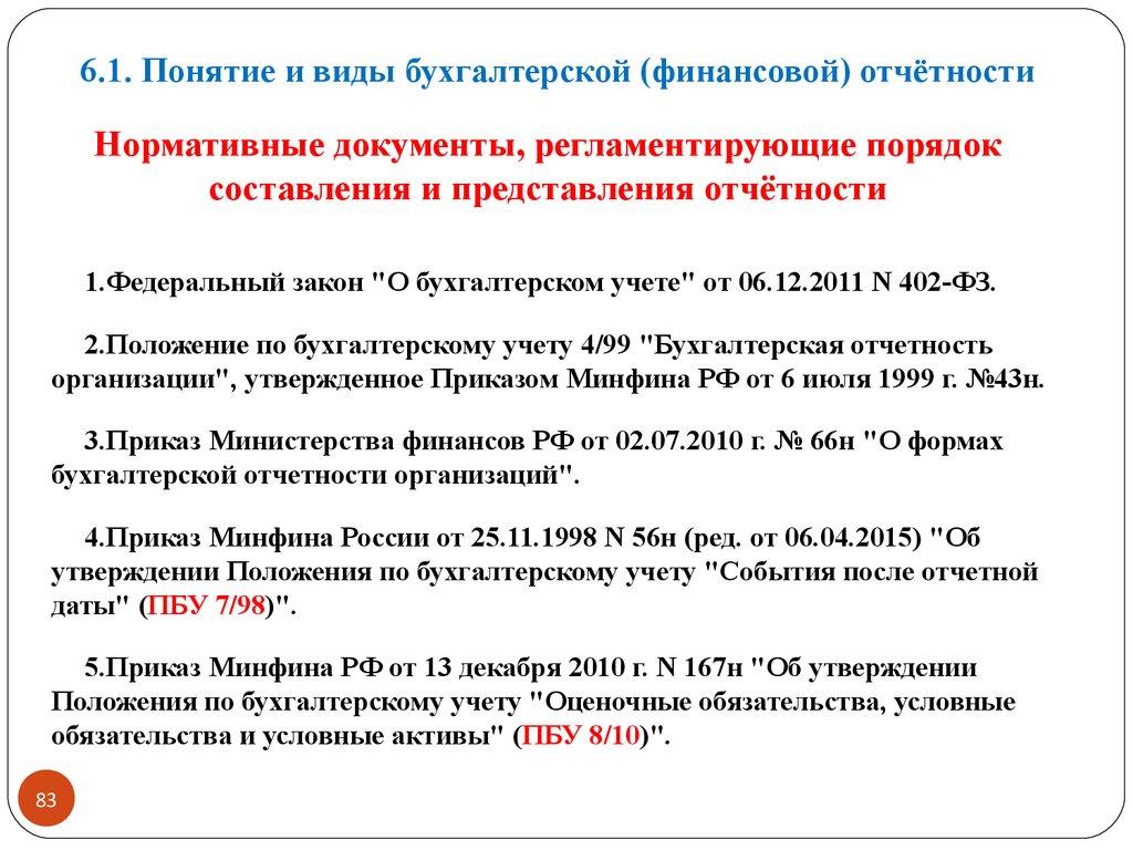 Нормативные документы регламентирующие финансовую отчетность организации
