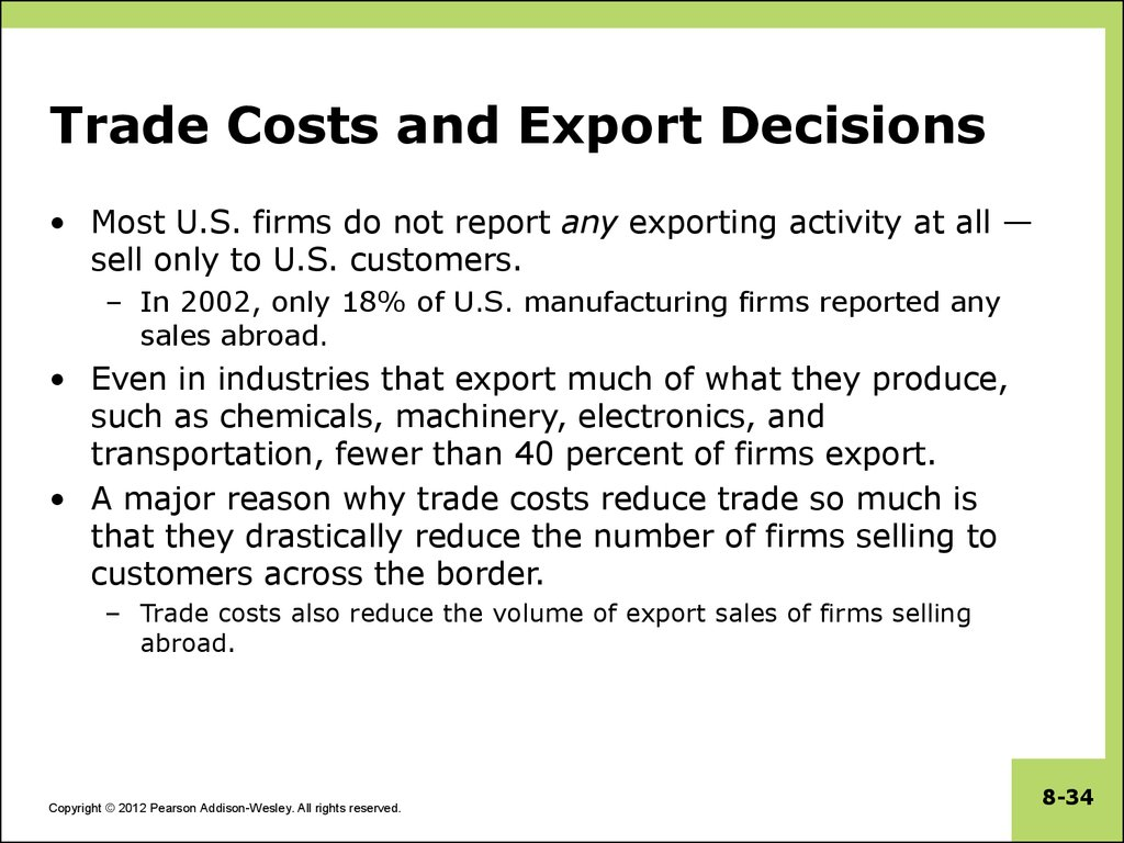 Trade Costs and Export Decisions