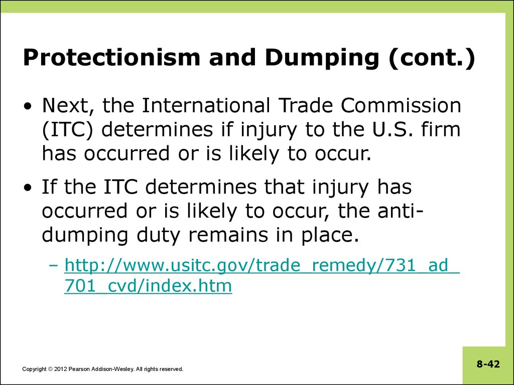 Protectionism and Dumping (cont.)