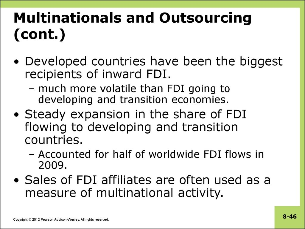 Multinationals and Outsourcing (cont.)