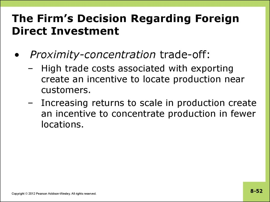 The Firm's Decision Regarding Foreign Direct Investment